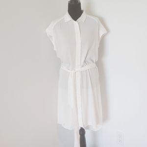 NWT LUMIERE White High Low Shirt Dress Med